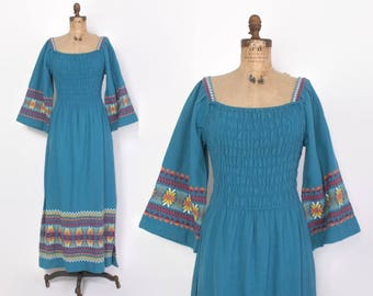 Vintage 60s Guatemalan DRESS / 1960s Boho Embroidered Blue Bell Sleeve Ethnic MAXI