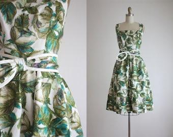 1960s green roses dress