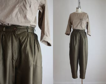 olive silk harem pants