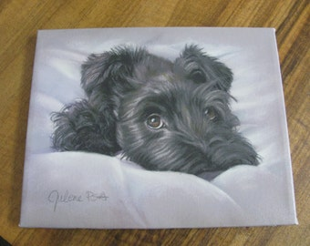 "Hand Painted Canvas of  ""Black Schnauzer"""