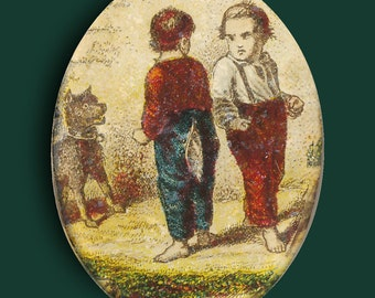 Button--Large Vintage Oval Gates Watch Crystal Boys Being Boys