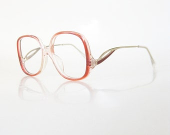 1980s Kids Eyeglasses Vintage Optical Frames Light Cranberry Red Clear New Wave Hipster Childrens 80s Eighties Retro Boys Girls