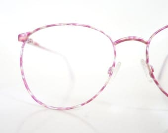 Vintage 1980s Enameled Colorful Pink Yellow Eyeglasses Womens Glasses 80s Eighties Round P3 Deadstock NOS New Old Stock Enamel Bright