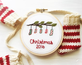 2016 Christmas Stockings. Colorful Embroidery Ornament. 4 Inch Embroidery Hoop. Winter Holiday Ornaments. Handmade Christmas Ornament.