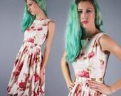 Rose Print Dress 50s Dress Jerry Gilden Dress Rose Novelty Print Dress Balloon Hem Dress Garden Party Perfection
