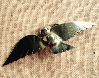 Antique Delicate Bird metal Brooch