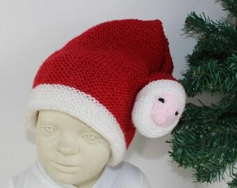 madmonkeyknits - Toddler Santa Head Christmas Hat knitting pattern pdf download - Instant Digital File pdf knitting pattern
