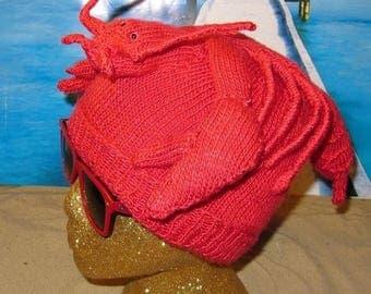 50% OFF SALE Instant Digital File pdf download Lobster Beanie Hat pdf knitting pattern
