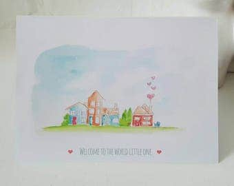New Baby. Welcome Baby. Greeting Card.
