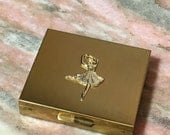 Vintage 60s Jewelry Box BALLERINA Gold Tone Small Post Pierced Earrings Metal