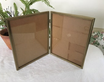 Vintage Gold Frames 8x10 Double hinged Picture Frame 70s Wedding