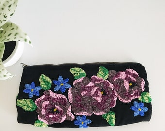 Vintage Black Beaded Roses Purse with Zipper, Pink and Blue Flowers, Green Leaves, Handbag, Clutch