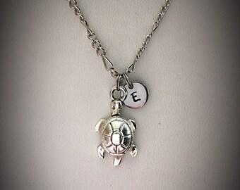 Turtle necklace  Turtle charm Charm necklace Friendship  necklace Initial necklace Monogram Personalized Best Friend necklace