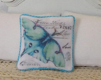 1:12 Pillow - Turquoise Butterfly Collage - Dollhouse Scale Miniature - French Shabby Cottage *Free Shipping*
