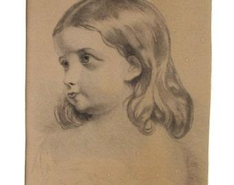Antique Pencil Drawing Young Girl Portrait Victorian Era