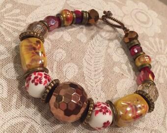 Ceramic and crystal bauble bracelet