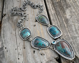 Sterling Silver Chrysocolla Necklace One Of A Kind Handmade Necklace By Joy Kruse Wikd Prairie Silver Jewelry