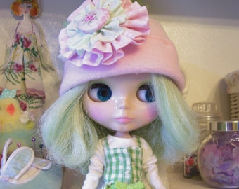 Pale Pink Fleece Hat for Blythe or Pullip Doll...Soooo Cute