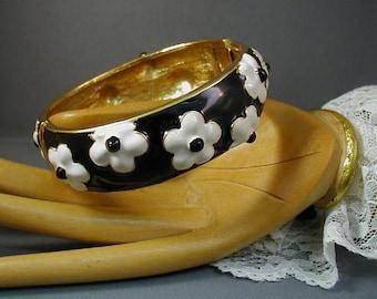 Enameled Black and White Flower Clamper Cuff Bracelet