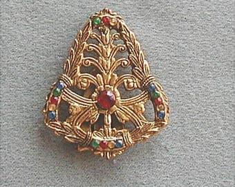 Vintage Stamped Brass Dress Clip