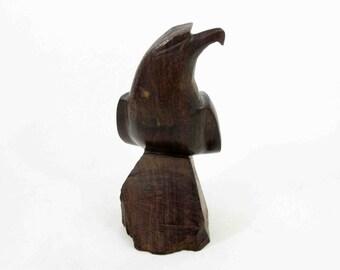 Vintage Mid Century Modern Walnut Falcon Carving. Circa 1950's - 1960's.