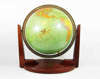 "Vintage Replogle 12"" World Globe with Modern Wood Stand. Circa 1950's."