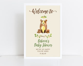 Baby Shower Welcome Sign  Baby Shower Sign  Woodland Baby Shower  Bear baby shower  Boy Baby Shower  Welcome Poster