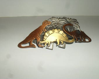 Vintage Copper Dinosaurs - Hair Clip - Barrette - Made in France