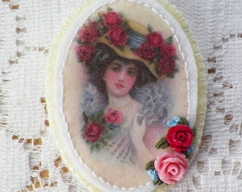 Handmade Embellished Victorian Lady / Girl Brooch / Pin / Broach, Vintage Image with Pink and Red Roses / Beads / Embroidery, Yellow Oval