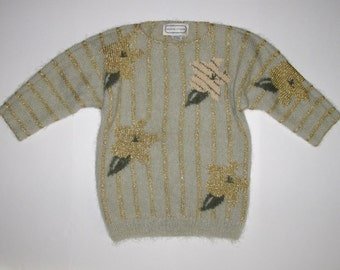 Adrienne Vittadini S/M Vintage Fuzzy MOHAIR and METALLIC Flowers Sweater Stripes, Fancy Pullover 3/4 Sleeve Womens small medium