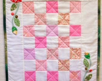 Pink Springtime Doll Quilt, Cradle Quilt, Wall Hanging