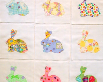 Handmade Easter Bunny Appliqued Quilt Blocks