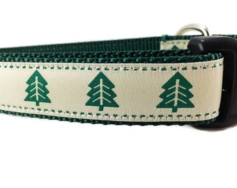 Christmas Dog Collar, Christmas Tree, 1 inch wide, adjustable, quick release, metal buckle, chain, martingale, hybrid, nylon