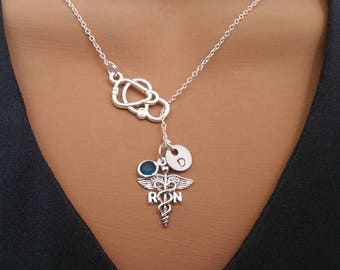 RN Registered Nurse Graduation Gift Handstamped Personalized Crystal Birthstone Initial Lariat Style Necklace
