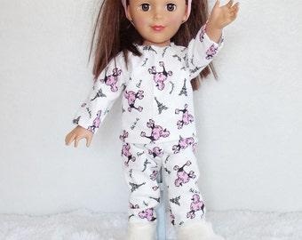 "18 inch doll pajamas, pink poodles doll pajamas, 18"" dolls paris pajamas, doll slippers, dolls fuzzy slippers & pajama set, doll sleepwear"