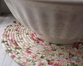 Floral Print Coiled Table Mat, Chair Pad, Hot Pad, Trivet, Placemat - 14 INCH ROUND