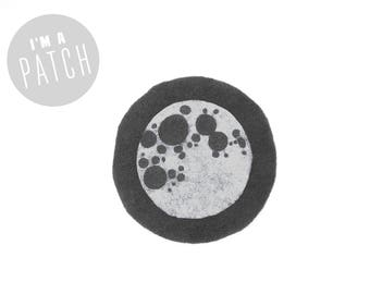 Full Moon Patch - Hand Printed Sew On Patch in Charcoal Grey & White