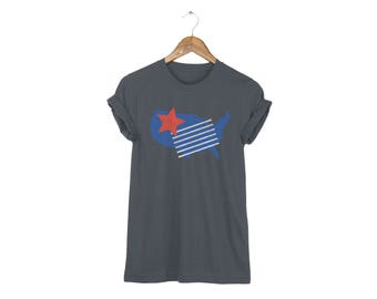 Geo Memphis America Tee - Boyfriend Fit Crew Neck Cotton Tshirt with Rolled Cuffs in Asphalt and Red White & Blue - Women's Size S-5XL