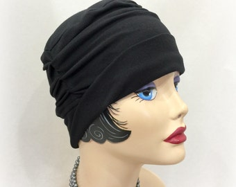 Chemo Hats - Size Medium - Ready to Ship - Soft Cotton Cloche - Hat for Hair Loss - Alopecia Hat - Black Chemo Hat - Soft Hats - Jersey Hats