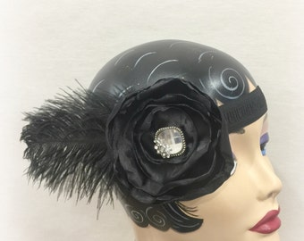 1920's Headband - Flapper Fascinator - 20's Black Headband - Flower and Feather - Gatsby Headband - Speakeasy Headband - Handmade in the USA