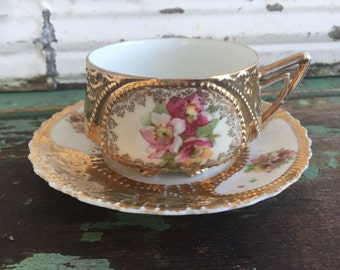 Vintage Teacup Tea Cup and Saucer Heavy Gold With hand Painted Flowers Roses
