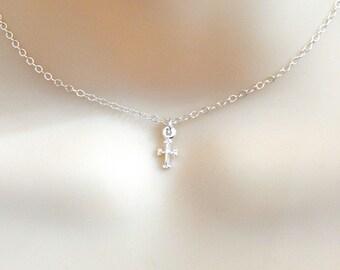 Dainty Cross Choker, Tiny Sterling Silver Cross Choker Necklace