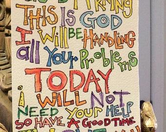 This Is God...I Love You Original Watercolor Art 5 x 7 Original Watercolor Art Ready For Framing