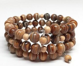 Brown and Tan Memory Wire Bracelet, Brown Striped Jasper Wrap Brcelet, Adjustable Wood & Jasper Bracelet