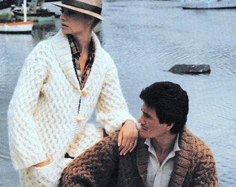 Vintage Knitting Pattern  Bulky Chunky Unisex Toggle Fastening Jacket  Cardigan Coat  INSTANT DOWNLOAD PDF