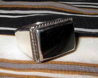 Onyx Mexico Sterling Silver Band Ring 925 Size 10 1/2