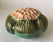 One Emerald Green and Pink Ceramic Flower Pod Wall  Art 3