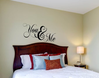 You & Me Wall Decal, Bedroom Decor, Vinyl Decal, Wall Art, Home Decor