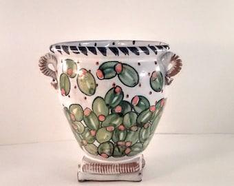 Majolica footed bowl - hand painted bar ware - green spanish olives - OOAK - Karen Baker - gifts