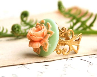 Rose Ring, Rose Cameo Ring, Peach Rose Ring, Mint Green, Gift for Her, Teen Jewelry, Spring Wedding, Victorian Cameo Ring, Orange Rose Ring